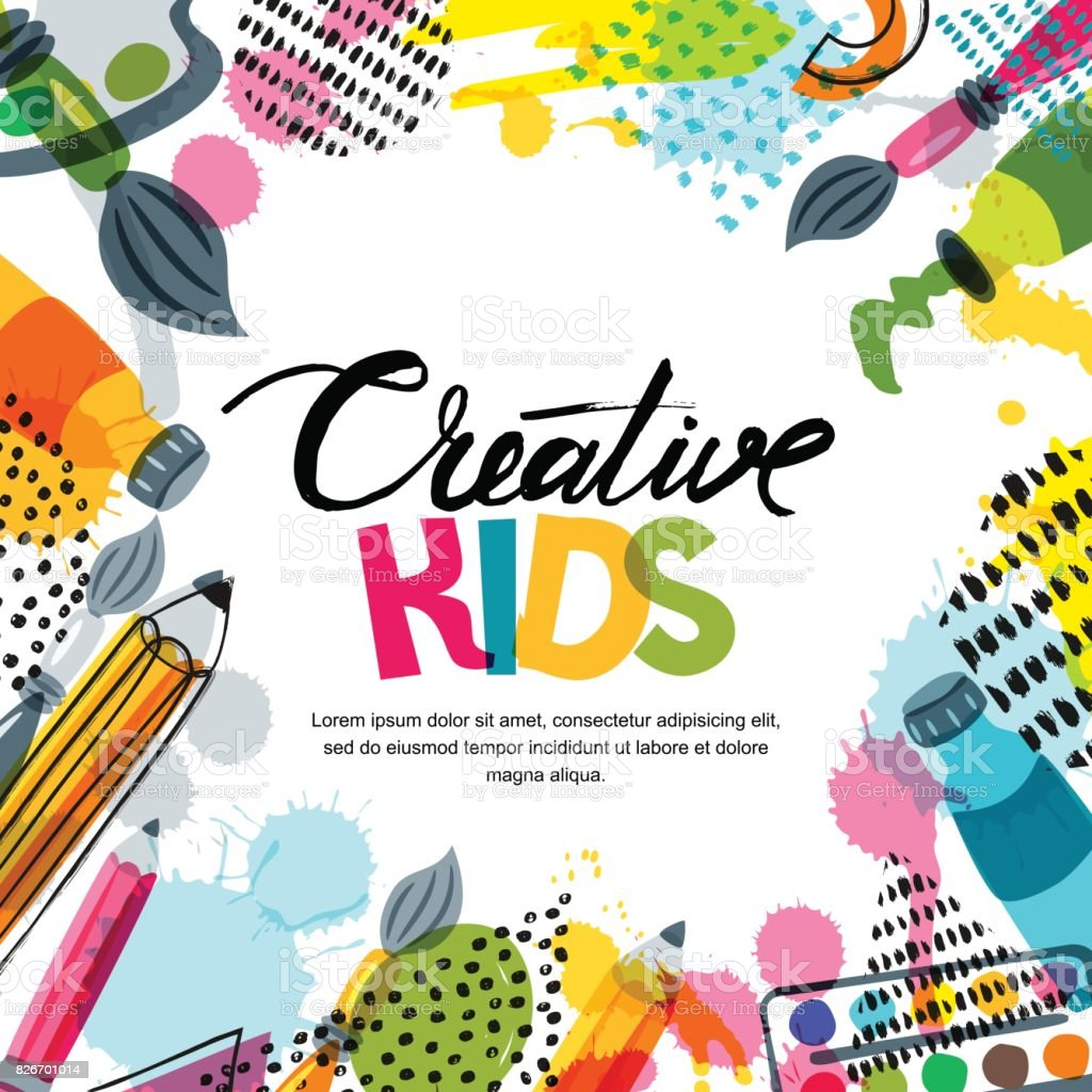 Kids art, education, creativity class concept. Vector banner, poster background with calligraphy, pencil, brush, paints. vector art illustration