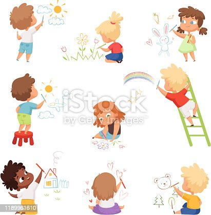 Kids artists. Childrens playing and drawing painting with colored crayons on paper vector funny cute characters. Illustration drawing cartoon, playing children