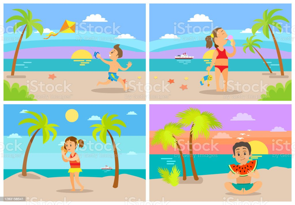 Kids at Beach Seaside Coastal Vacations Flat Style - Royalty-free Adolescente arte vetorial