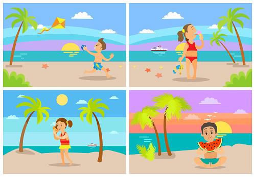 Kids At Beach Seaside Coastal Vacations Flat Style - Arte vetorial de stock e mais imagens de Adolescente