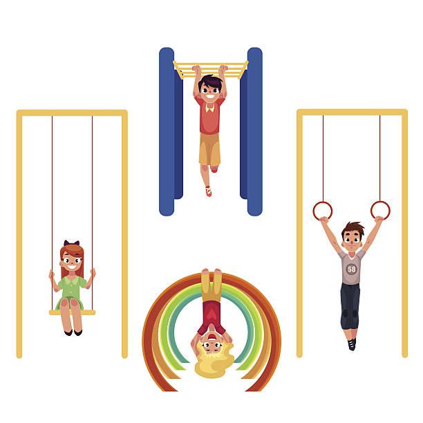 kids at playground, hanging and climbing on monkey bars, swinging - monkey bars stock illustrations, clip art, cartoons, & icons