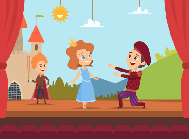 Illustration Of A Happy Kids Playing Music On The Stage ...  |Acting On Stage Cartoon