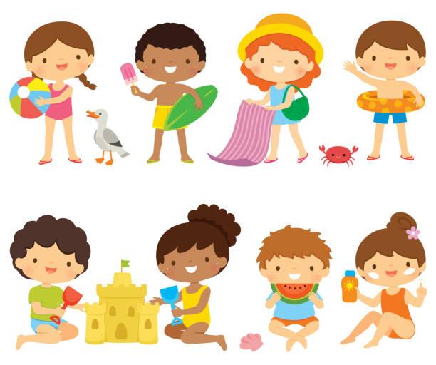 illustrations, cliparts, dessins animés et icônes de les enfants à la plage clipart ensemble - chateau de sable