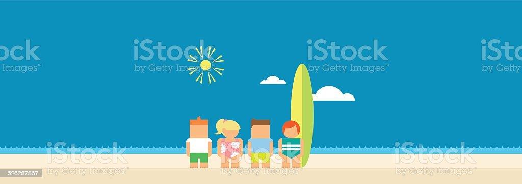 Kids at the Beach vector art illustration
