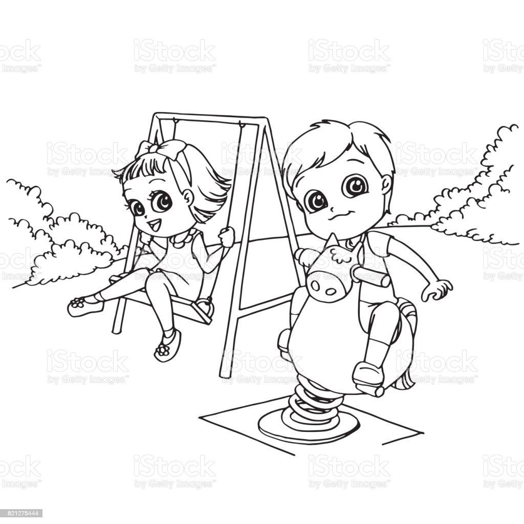 Sayfa Vektör Boyama Bahçesi çizgi Film çocuklar Stok Vektör Sanatı