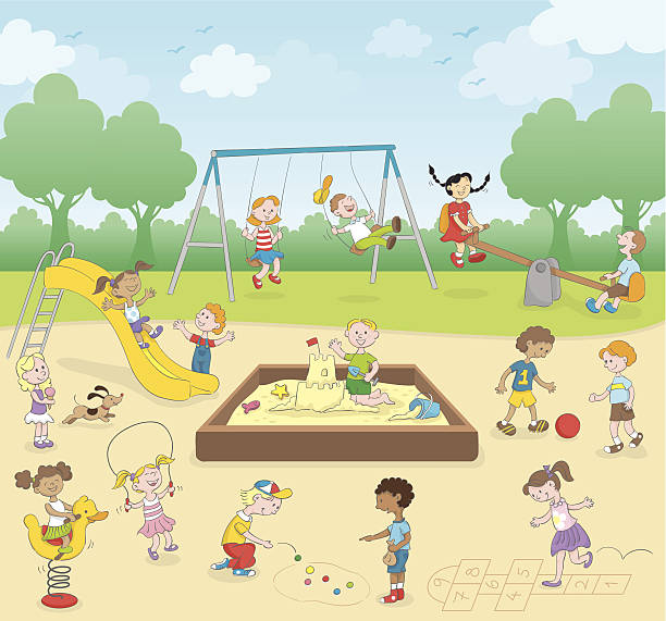 kids at the playground - recess stock illustrations, clip art, cartoons, & icons