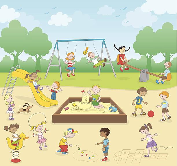 Kids at the playground vector art illustration