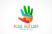 Kids Autism Hand logo. Vector Illustration