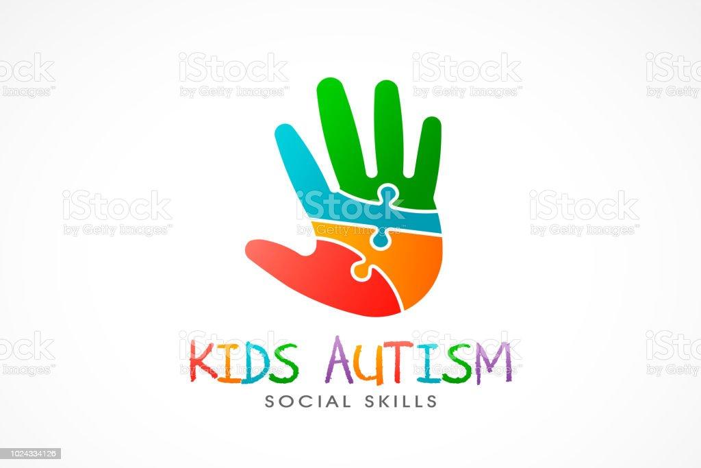 Logotipo do autismo mão de crianças. Ilustração vetorial - ilustração de arte em vetor
