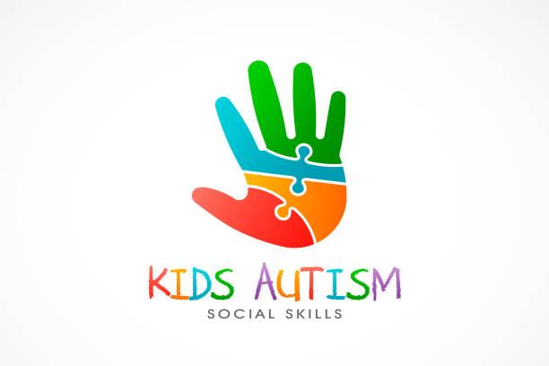 Kids Autism Hand logo. Vector Illustration vector art illustration