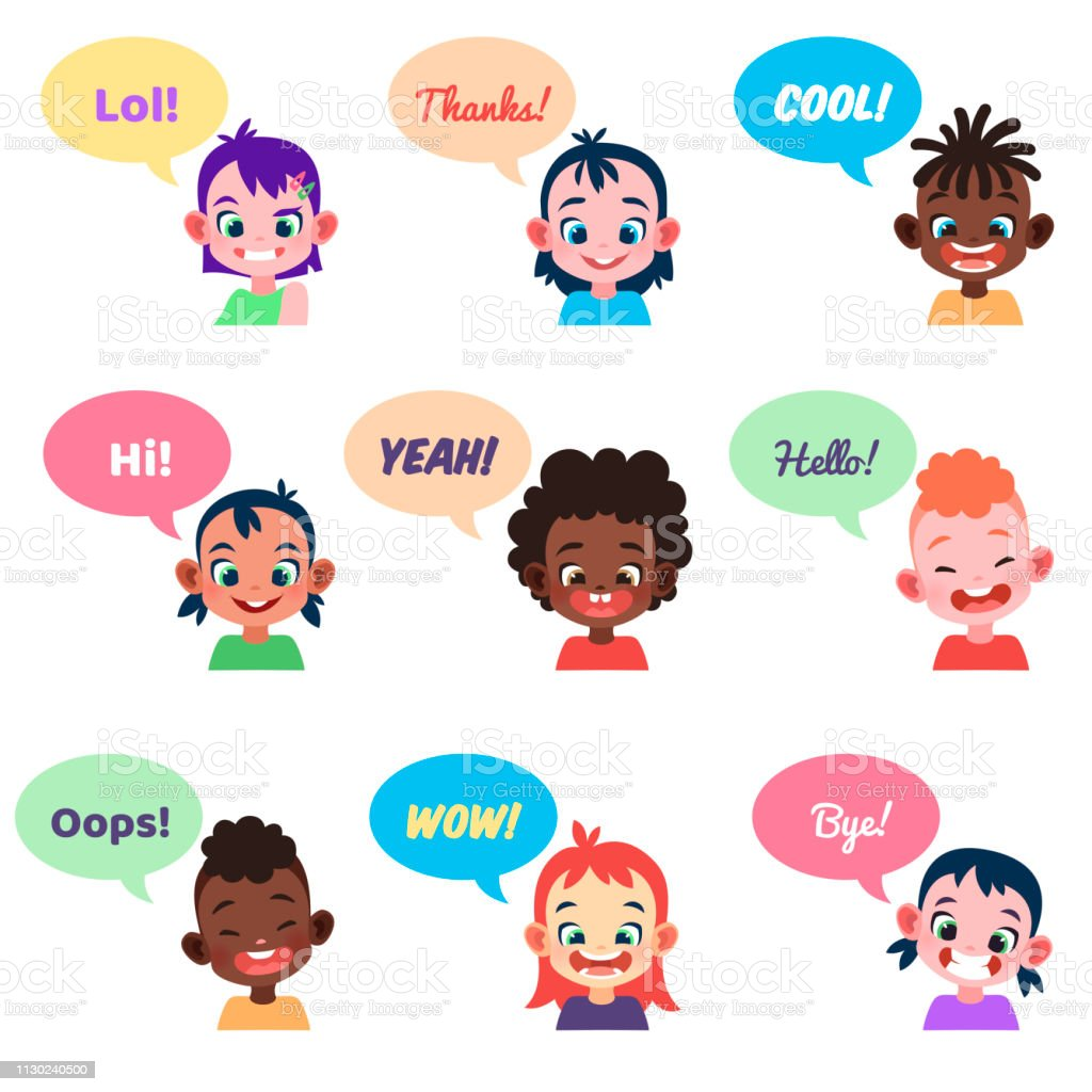 Kids Avatars International People With Speech Bubbles