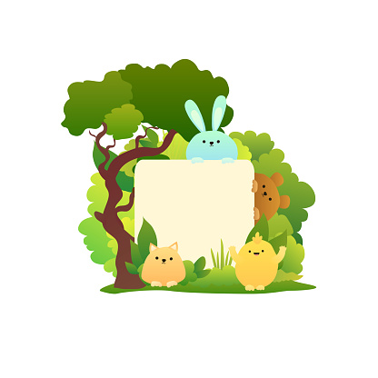 Kids background with a place for text. Cartoon animals: kitten, bear, chiken and bunny. Vector illustration for сhildren