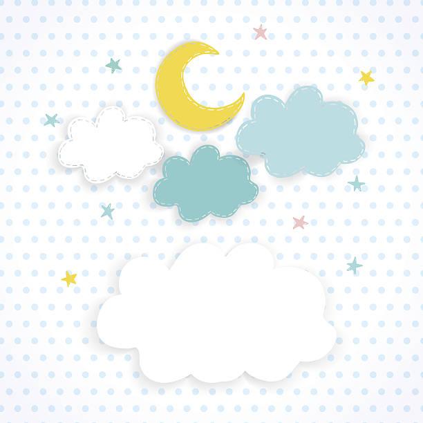 bildbanksillustrationer, clip art samt tecknat material och ikoner med kids background with moon, clouds and stars - baby sleeping