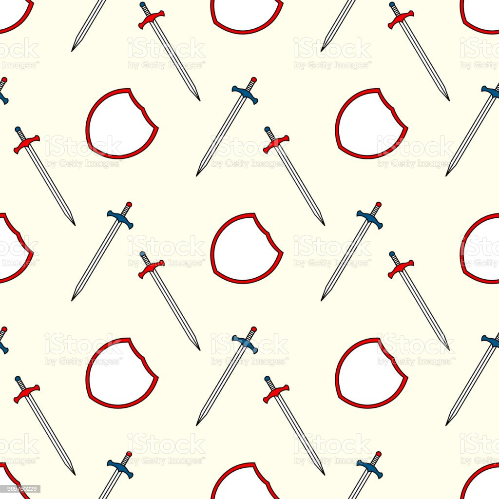 Kids background with shield and sword seamless pattern - Royalty-free Adventure stock vector