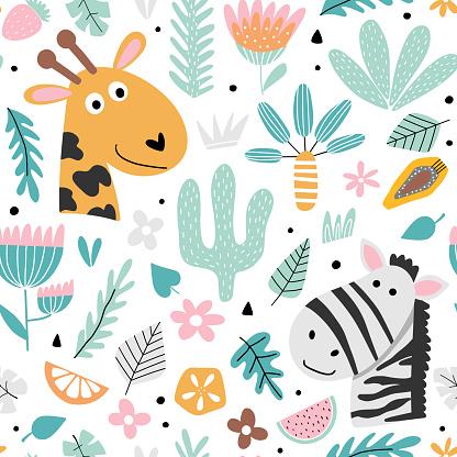 Kids background with zebra and giraffe