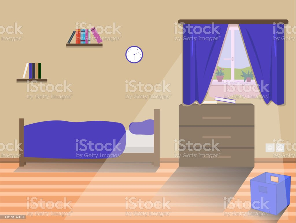 Kids Bedroom Interior With Bed Window Books Box For Toys ...