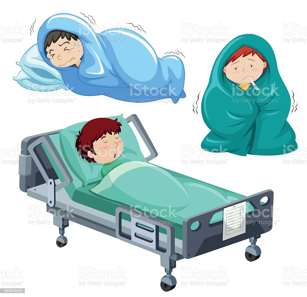 Kids being sick in bed vector art illustration