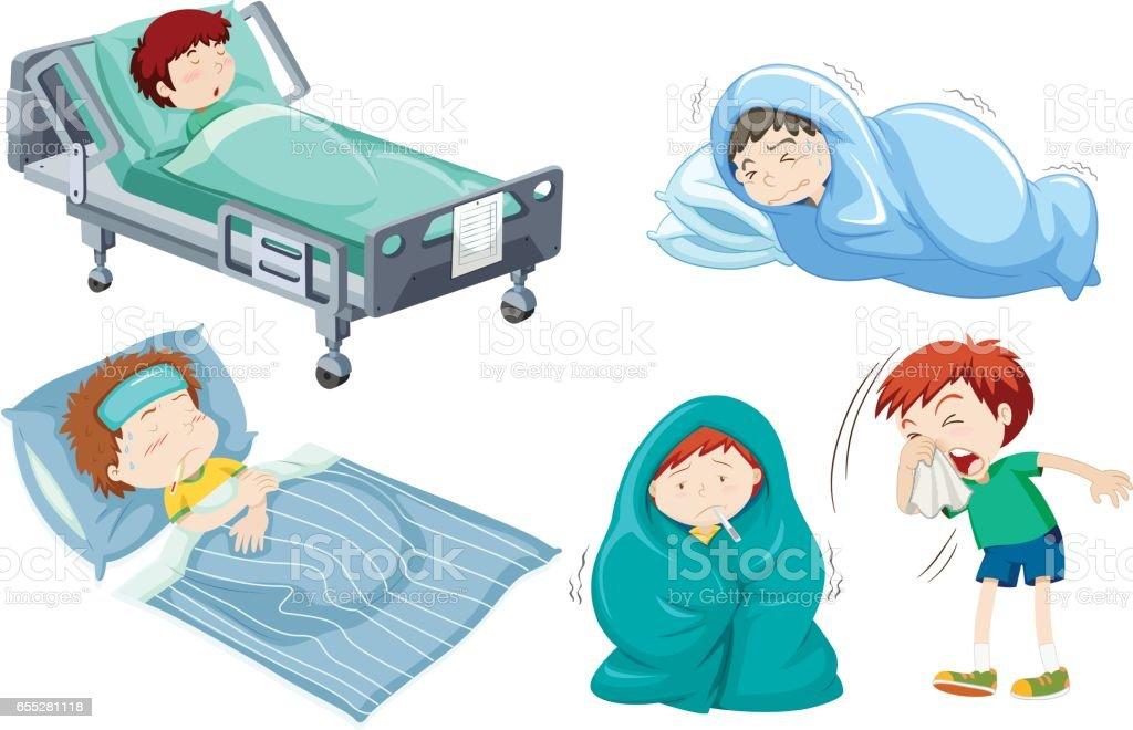 Kids Being Sick In Bed Stock Vektor Art Und Mehr Bilder Von Bett