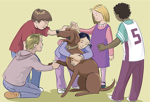 Kid's best friend Children petting a dog, all characters separated by layers. pets and animals stock illustrations