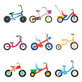 Kids bicycles set. Two, four wheels set in a frame, road transportation bike with training wheels, balance bike. Vector flat style cartoon illustration isolated on white background