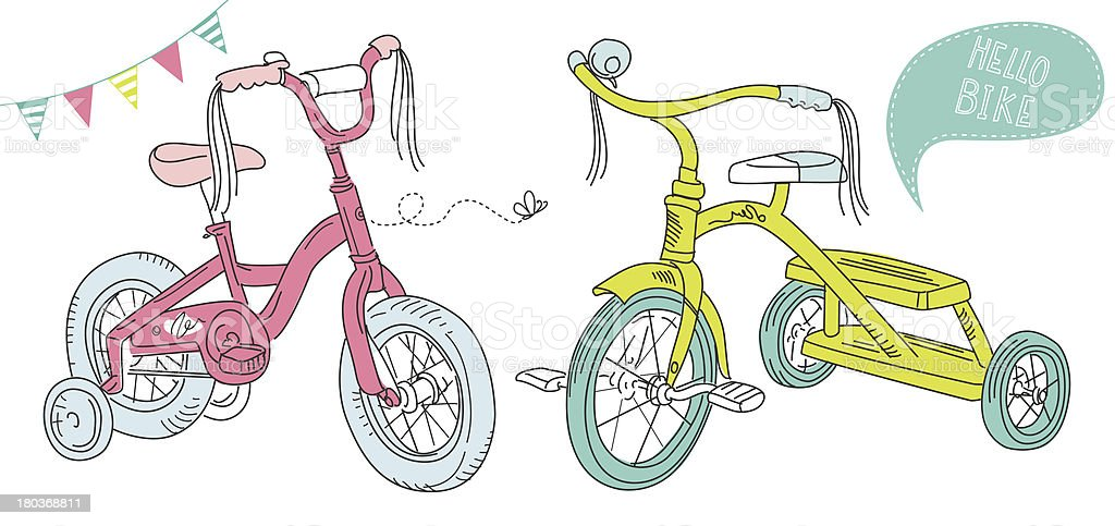 Kids Bicycles vector art illustration