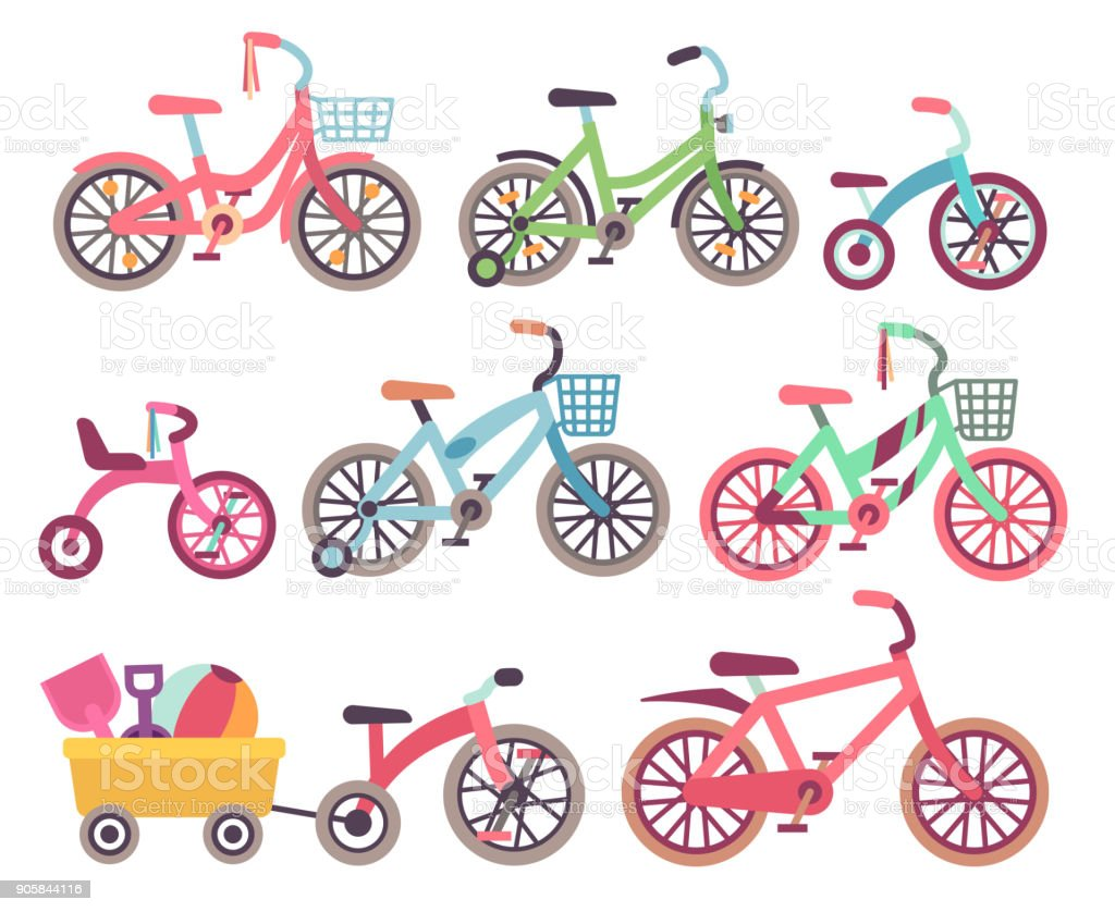 Kids bicycles vector set. Childrens bikes collection vector art illustration
