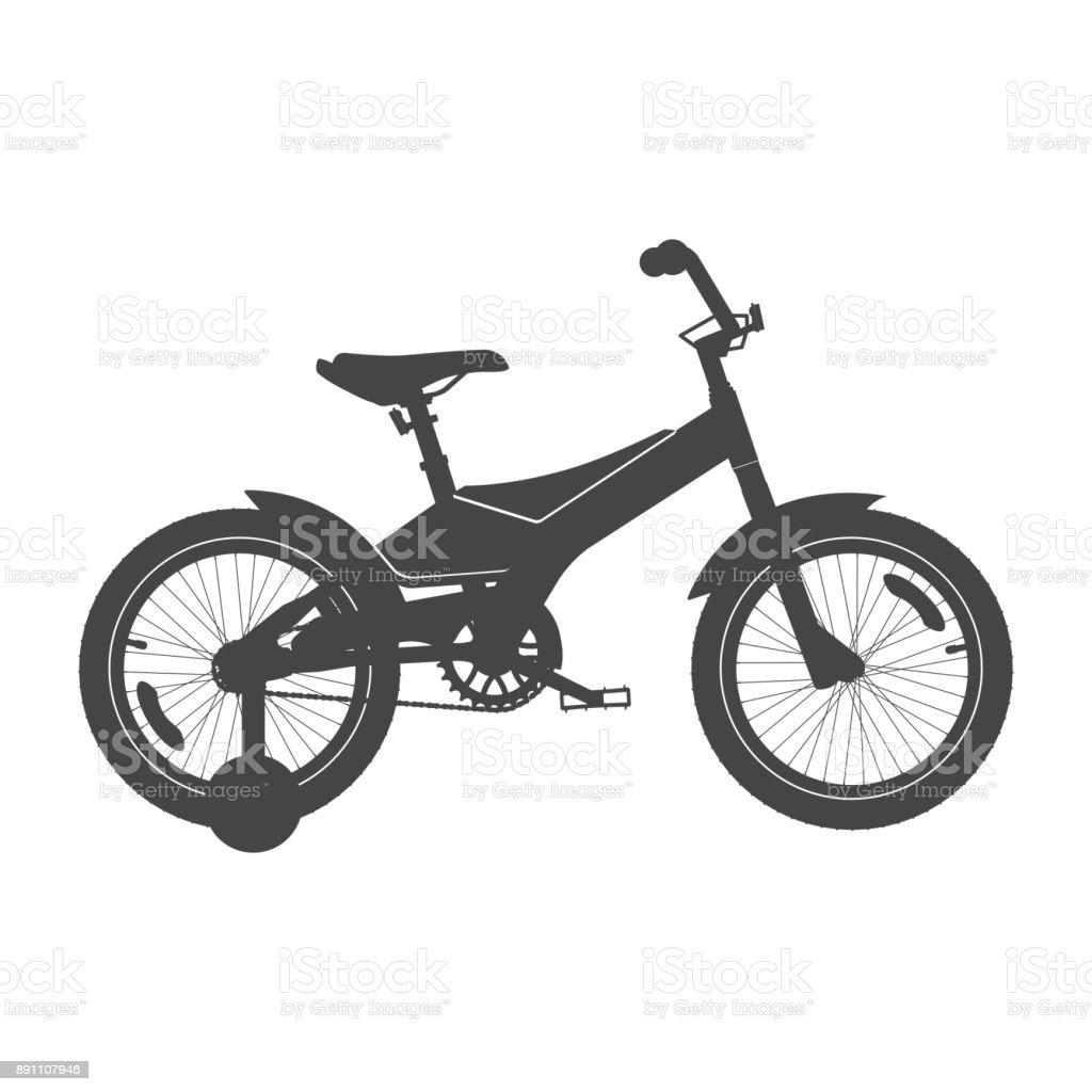 Kid's Bike for Boys. Vector Silhouette vector art illustration