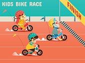 Kids Bike Race, Boys, girls are racing bikes