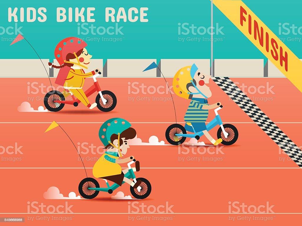 Kids Bike Race, Boys, girls are racing bikes vector art illustration