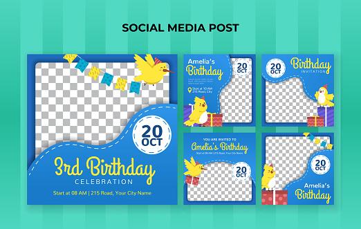 Kids birthday celebration party for social media post template