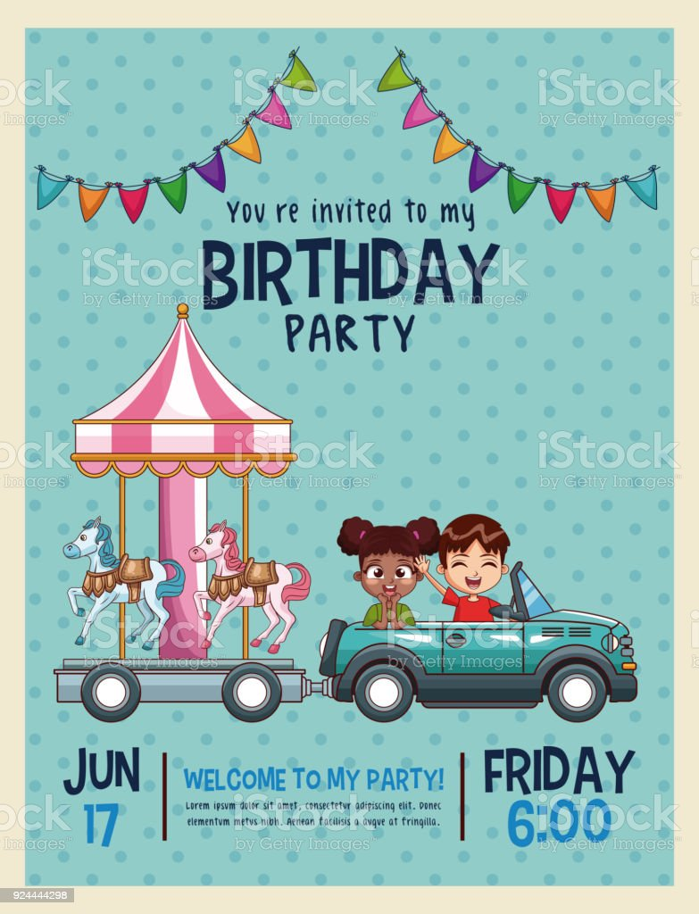 Kids Birthday Invitation Card Stock Vector Art & More Images of ...