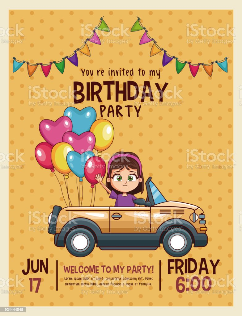 Kids Birthday Invitation Card Stock Illustration - Download Image Now -  iStock