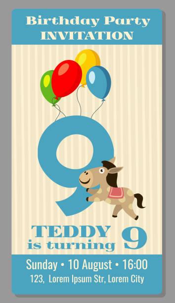 illustrations, cliparts, dessins animés et icônes de kids birthday party cartoon animals invitation - ballon anniversaire smiley