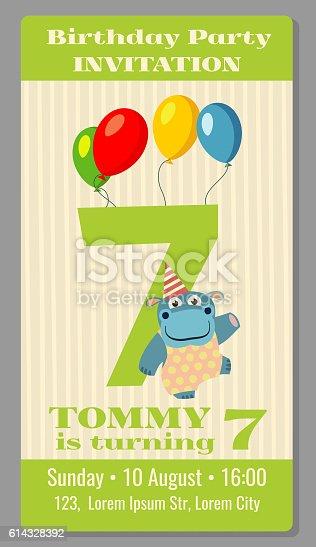 Kids birthday party invitation card vector illustration arte kids birthday party invitation card vector illustration arte vetorial de acervo e mais imagens de adolescente 614328392 istock stopboris Choice Image