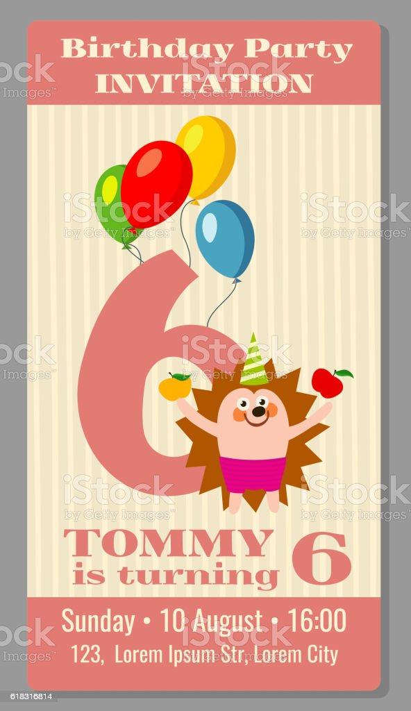 Kids birthday party invitation card vector illustration vetor e kids birthday party invitation card vector illustration vetor e ilustrao royalty free royalty free stopboris Images