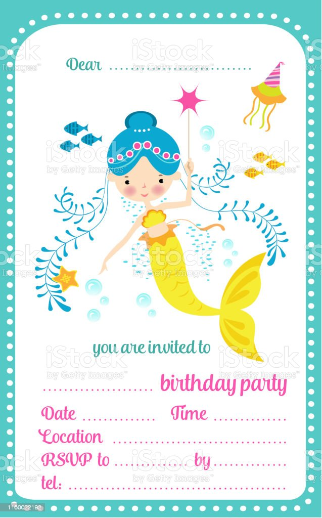 Kids Birthday Party Invitation Template Card With Cute
