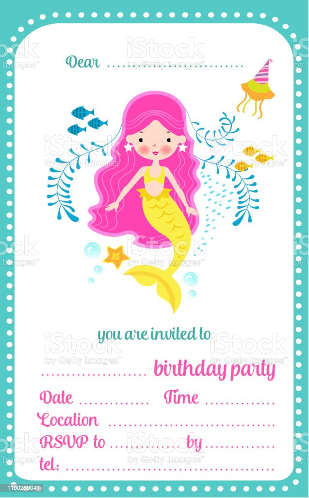 Kids Birthday Party Invitation Template Card With Cute Little