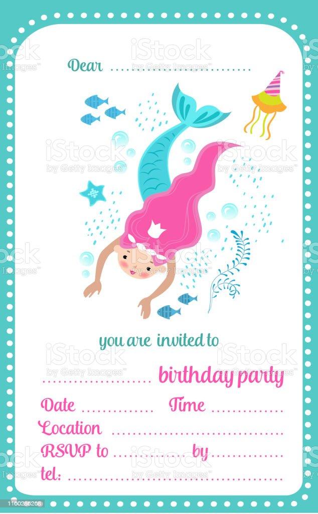 Ilustración De Niños Cumpleaños Fiesta Invitación Plantilla