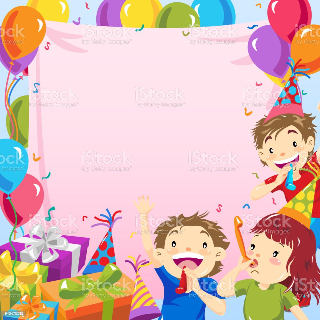 Kids Birthday Party Invitation Stock Vector Art & More Images of ...