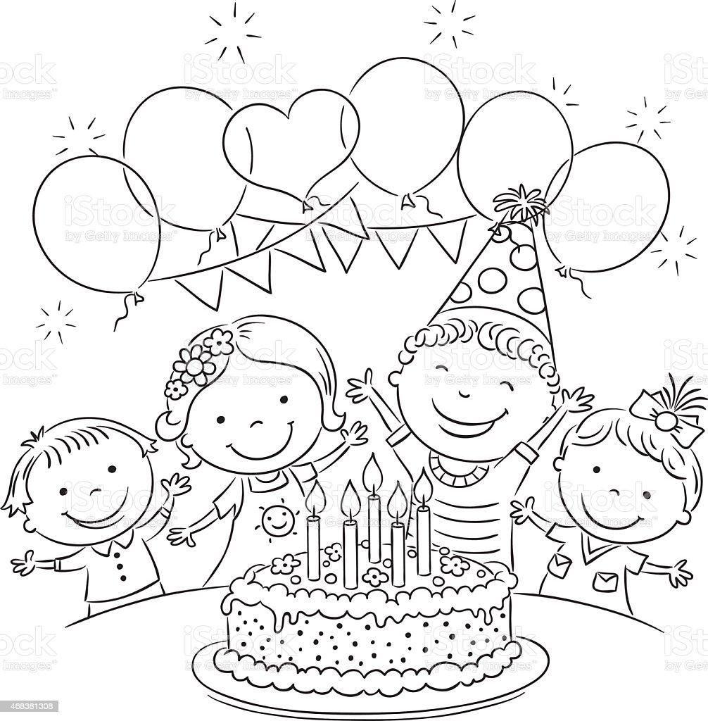 Картинки раскраски с днем рождения для детей в детском саду, надписями спокойной