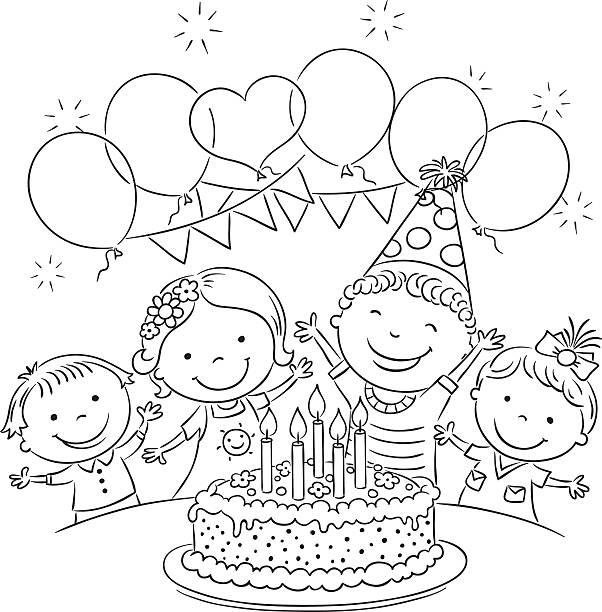 Kids Birthday Party Outline Kids birthday party with a big cake and colorful balloons, black and white outline cartoon of birthday cake outline stock illustrations