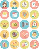 Kids Birthday Party Round Icons