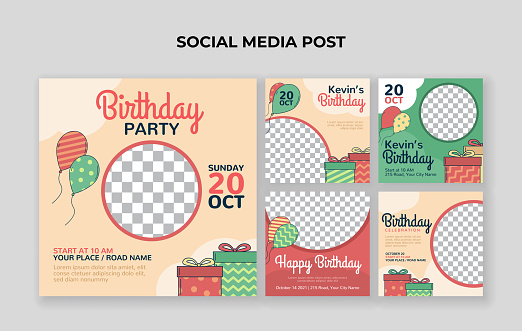 Kids birthday party social media post template. Suitable for kids birthday invitation or any other kids event