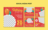 Set of birthday social media banners