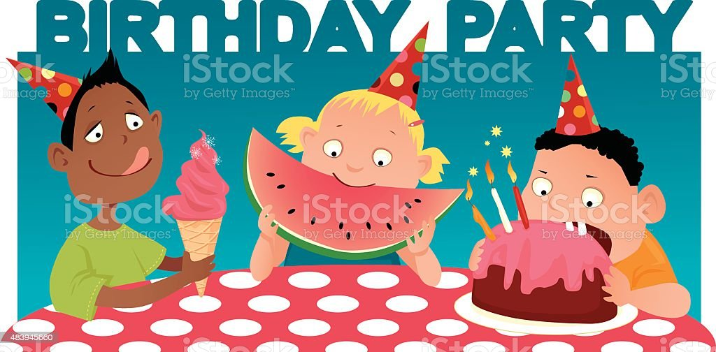 Kids birthday party vector art illustration