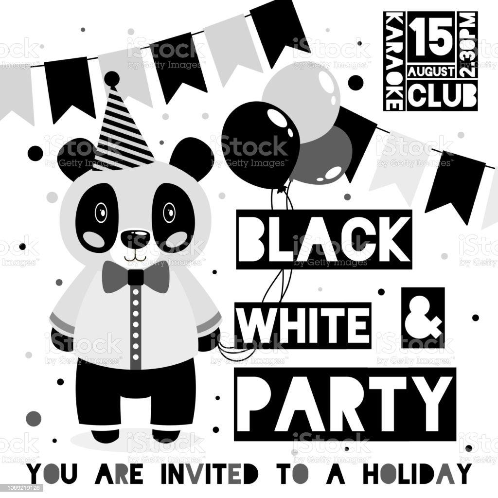 Ilustración De Tarjeta De Invitación De Fiesta Blanco Y