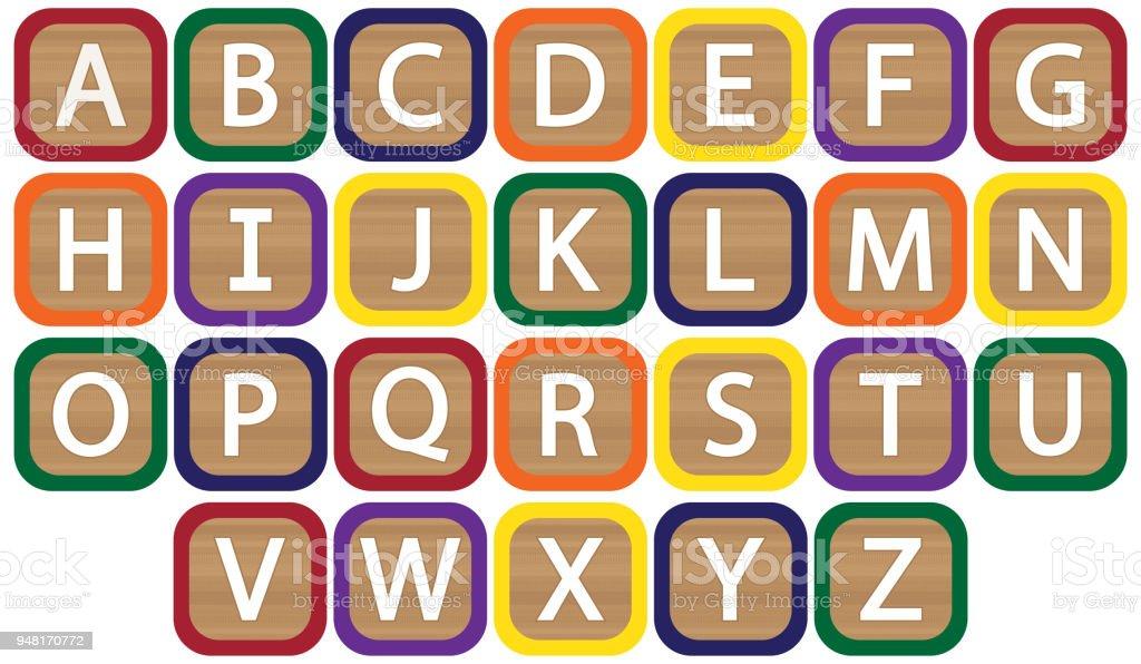 Alfabeto de bloques de los niños - ilustración de arte vectorial