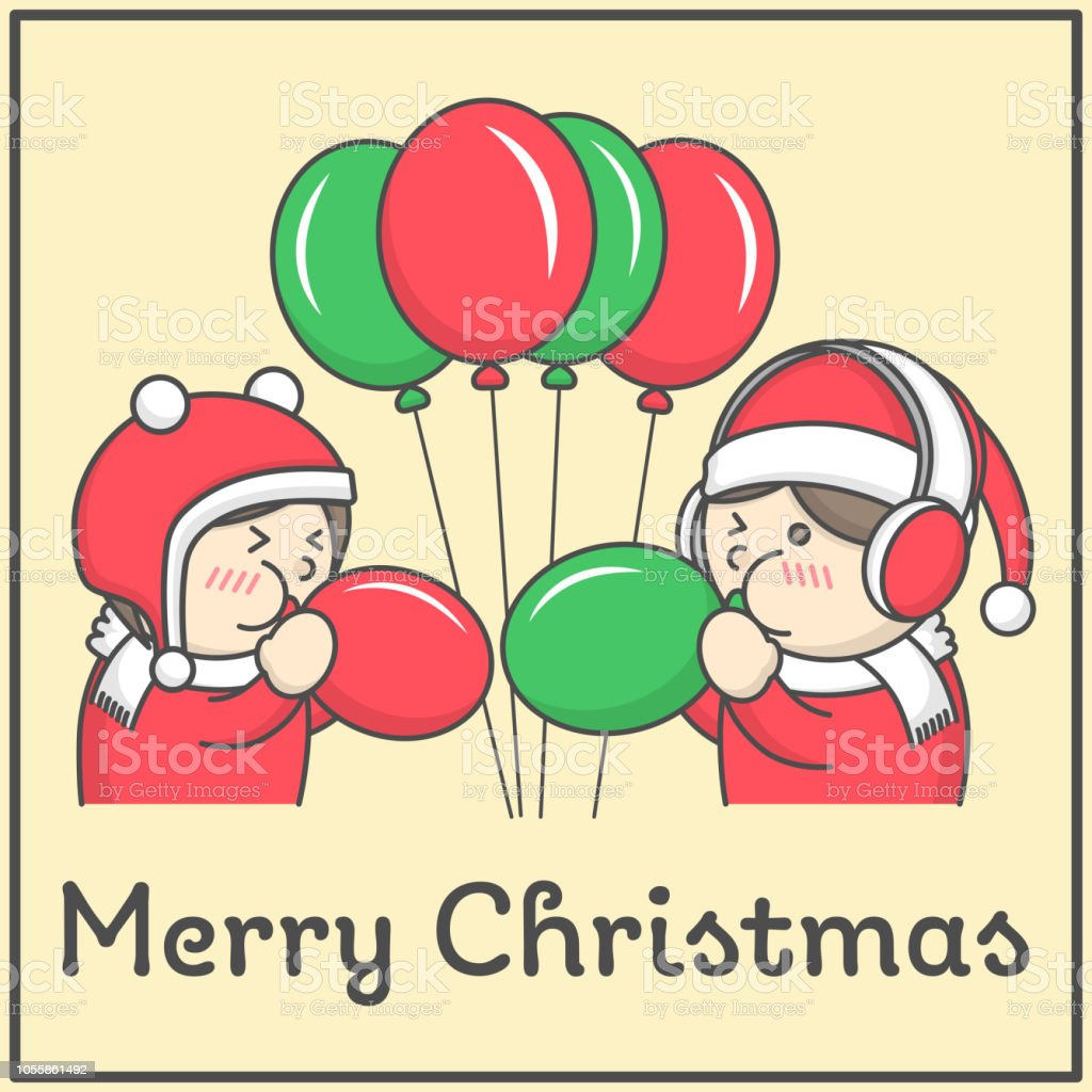 Kids Blowing Up Fancy Balloons For Merry Christmas Party Flat Cartoon Design For Book Decoration And Design Elements Vector Illustration Stock Illustration Download Image Now Istock