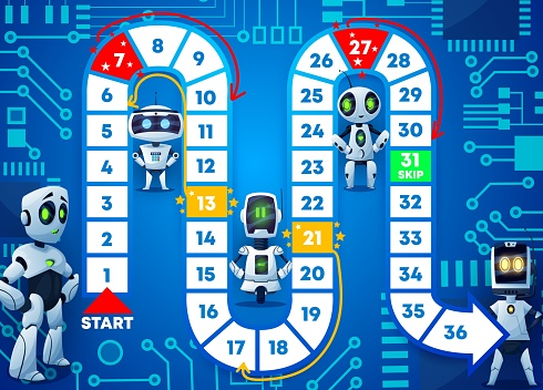 Kids board game template with funny cartoon robots