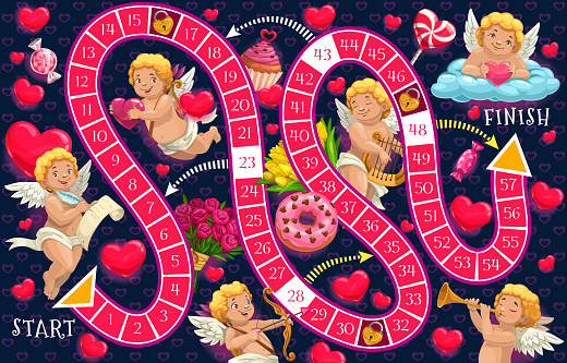 Kids board game vector template, Valentines day